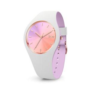 Ice-Watch dameshorloge- Horloge met wit en paars siliconen band met roze wijzerplaat - Te koop bij Sparnaaij Juweliers in Aalsmeer