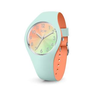 Ice-Watch dameshorloge met blauwe siliconen band met oranje binnenkant - Te koop bij Sparnaaij Juweliers in Aalsmeer