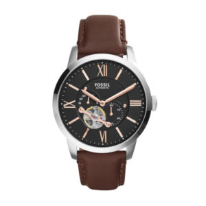 Fossil automatisch horloge met bruin leren band en zilverkleurige kast met zwarte wijzerplaat - Te koop bij Sparnaaij Juweliers in Aalsmeer