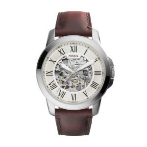 Fossil automatisch horloge met bruin leren band en zilverkleurige kast - Te koop bij Sparnaaij Juweliers in Aalsmeer