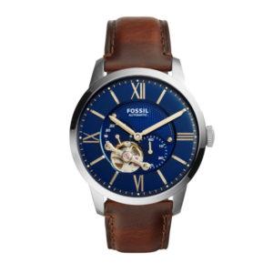 Fossil automatisch horloge met bruin leren band en zilverkleurige kast met blauwe wijzerplaat - Te koop bij Sparnaaij Juweliers in Aalsmeer