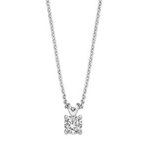 Zilveren collier met solitair hanger van de Classic collectie van Moments met zirkonia - te koop bij Sparnaaij Juwelier is Aalsmeer en Hoofddorp