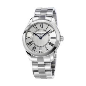 Frederique Constant horloge van RVS met zilverkleurige wijzerplaat - Te koop bij Sparnaaij Juweliers in Aalsmeer