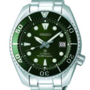 Seiko horloge met zilverkleurige band en groene kast - Te koop bij Sparnaaij Juweliers in Aalsmeer