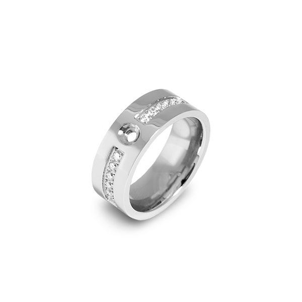 Zilverkleurige Melano twisted flat cz ring met zirkonia steentjes - Te koop bij Sparnaaij Juweliers in Aalsmeer en Hoofddorp