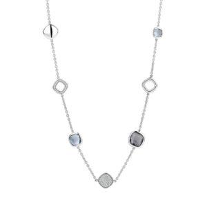 Ti Sento zilver collier met blauw grijze stenen - te koop bij Sparnaaij Juweliers in Aalsmeer en Hoofddorp