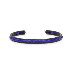 Zwarte stalen armband met blauwe details- Te koop bij Spanaaij Juweliers in Aalsmeer en Hoofddorp