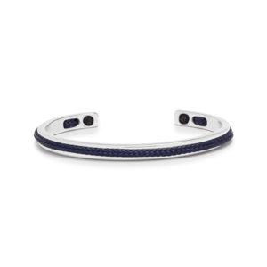 Zilver stalen armband me donkerblauwe tails- Te koop bij Spanaaij Juweliers in Aalsmeer en Hoofddorp