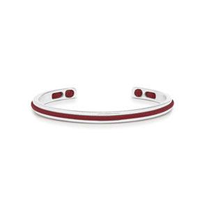 Zilver stalen armband met rode details- Te koop bij Spanaaij Juweliers in Aalsmeer en Hoofddorp