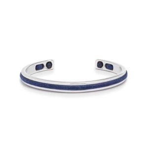 Zilver stalen armband met donkerblauwe details- Te koop bij Spanaaij Juweliers in Aalsmeer en Hoofddorp