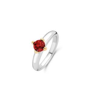 Zilveren ring van Ti Sento met een geelgouden plating en een rode steen- Te koop bij Sparnaaij juweliers in Aalsmeer en Hoofddorp