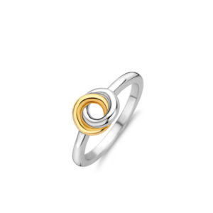 Zilveren ring van Ti Sento met geelgouden platingen - Te koop bij Sparnaaij juweliers in Aalsmeer en Hoofddorp