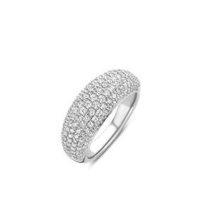 Zilverkleurige brede ring bezet met zirkonia's van Ti Sento - Te koop bij Sparnaaij juweliers in Aalsmeer en Hoofddorp