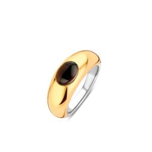 Zilveren ring met doublé en donkerbruine steen van Ti Sento - Te koop bij Sparnaaij juweliers in Aalsmeer en Hoofddorp