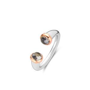 Speelse opengewerkte ring met koraalrode steen van Ti Sento - Te koop bij Sparnaaij juweliers in Aalsmeer en Hoofddorp