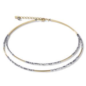 Coeur de Lion collier - Zilver en goudkleurig crystal en staal - Te koop bij Sparnaaij Juweliers in Hoofddorp