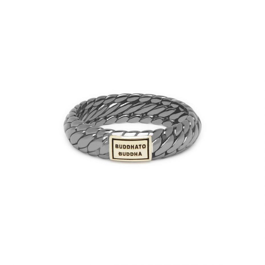 Buddha to Buddha ben ring black rhodium shine gold 14k - zilver en goud - Te koop bij Sparnaaij Juweliers in Hoofddorp en Aalsmeer
