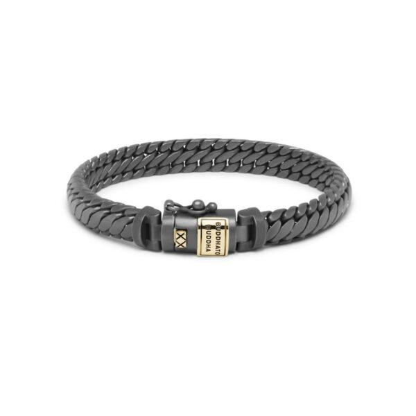 Buddha to Buddha ben armband black rhodium matt gold 14k - zilveren armband - Te koop bij Sparnaaij Juweliers in Aalsmeer en Hoofddorp