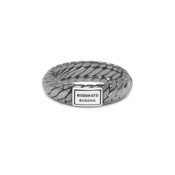 Buddha to Buddha Ben ring black rhodium shine silver - zilveren ring - Te koop bij Sparnaaij Juweliers in Aalsmeer en Hoofddorp
